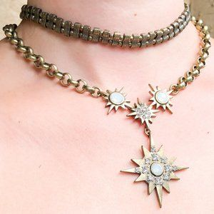 BaubleBar Set of Gold Starburst Necklaces